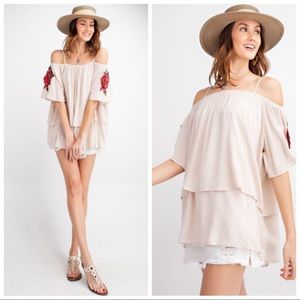 Tops - KATE OFF THE SHOULDER BEIGE BELL SLEEVE TUNIC TOP